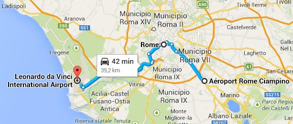 Travelling From Rome Fiumicino Airport FCO To Ciampino Airport - Rome map with airports